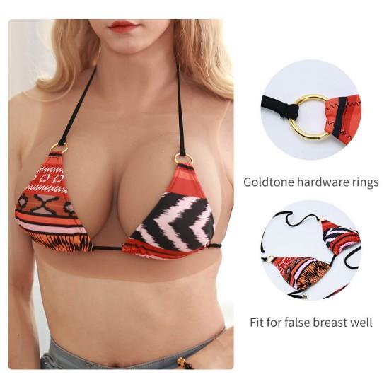 orange and red bikini
