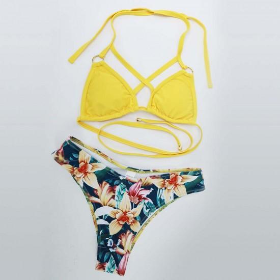 Yellow strappy micro triangle hawaiian bikini