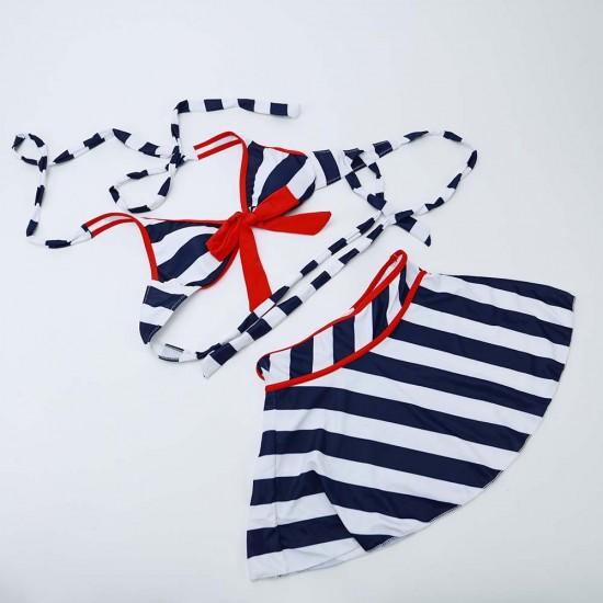 Dark blue striped knotted halter nautical bikini