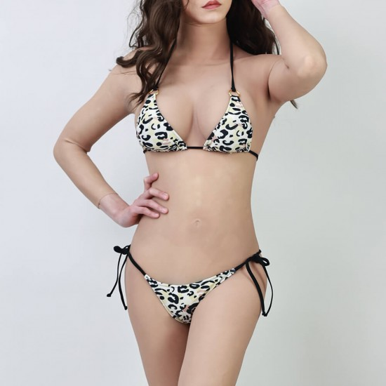 Black and white leopard print bikini