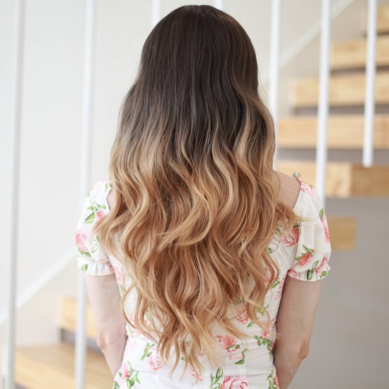Ombre blonde mix brown long wig