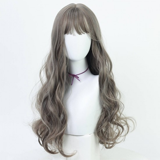 Curly long wig - Ombre grey