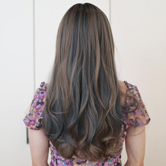 Curly long wig - Ombre grey mix blue