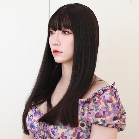 sleek long wigs-black